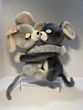 Vintage Dakin Hugging Kissing Mice Mouse Plush Stuffed Animals Gray 1976 Rare