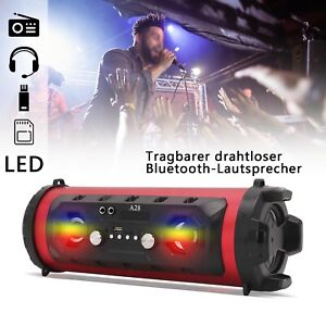 Tragbar Bluetooth Lautsprecher LED Soundstation Musikbox Soundbox SD AUX USB