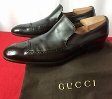 60482713f22 Mens Brown Gucci GG Leather Loafers Sz 9 G   10 D US Made In ITALY