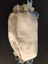 Vtg Boudoir Baby Pillow Case Cover Sham Ribbon Embroidered Trim White
