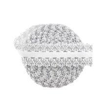 "5 Yard 1"" Silver Glitter Picot Frilly Lace Elastic Spandex Band Tutu Sewing Trim"