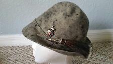Anton Pichler Graz Vintage german Oktoberfest gray hat gamsbart pins Hat