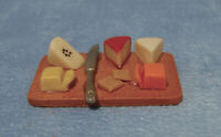 Dolls House Miniature 1/12th Scale Selection of Cheese & Knife Fixed on a Board