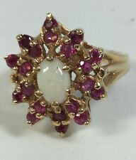Ladies Opal and Ruby Solid Gold Ring (J100)