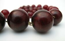VINTAGE CHERRY AMBER BAKELITE ROUND BEAD NECKLACE ART DECO 26 inch length 88 gms