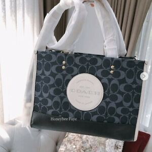 NWT COACH C2826 Dempsey Carryall Tote In Signature Jacquard With Patch Crossbod