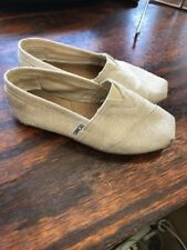 TOMS Classic Neutral W/silver Linen Slip On Shoes...Size 5