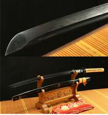 "41"" DAMASCU FOLDED  STEEL BLACK  SHARP WOOD JAPANESE SAMURAI SWORD KATANA"
