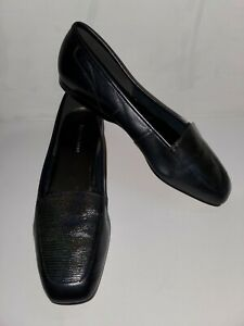 Enzo Angiolini Navy Blue Faux Snakeskin Leather Loafers Flats Shoes 10 Slip Ons