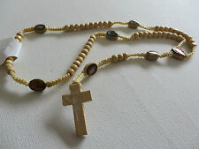 CATHOLIC LIGHT WOOD & KNOTTED CORD ROSARY & SAINT BEADS CRUCIFIX new gift pouch