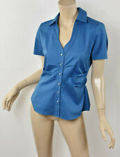 ELIE TAHARI Solid Blue Stretch Cotton Pleated Tucked Waist Button Down Blouse S