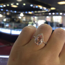 Pink Cubic Zirconia Crystal Water Drop Pear Shape Ring Ladies Jewelry Size 6-10