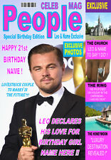 LEONARDO DICAPRIO A5 'MAGAZINE STYLE'  Personalised Birthday Card Any Name / Age