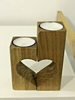 Candle Holder Wooden Heart-shaped Handmade Gift Home Decor