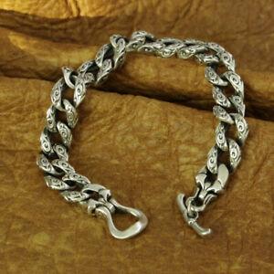 925 Sterling Silver Auspicious Clouds Chain Mens Biker Punk Bracelet TA156B