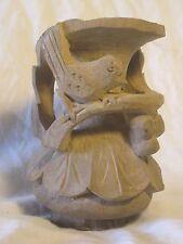 """carved wooden vase wood bird carving hard ornate leaf art 4.5"""" nature decor"""