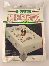 """Bucilla Vintage Christmas Table Cloth 82557 60"""" X 90"""" Oblong"""