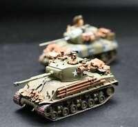 New 1:72 Scale WWII US Army M4A1(76)W Tank And M4A3E8 Tank Painted Plastic Model