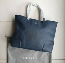 OROTON MELANIE LARGE TOTE NAVY Blue Saffiano Leather Bag Silver RRP$595