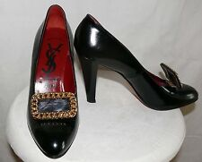 "Ysl Designer Black Patent Leather Pumps 4"" Heel One 7 M One 7 N Red interior"