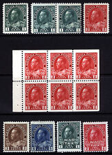 Canada #104-#111, #MR1&#MR2 1c-8c 1911-23 King George V  Mint & MLH 8 items