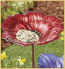 Red Flower Floral Glass Bird Bath Bowl Feeder Garden Yard Stake Lawn Home Decor