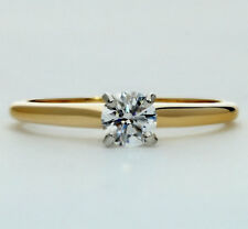 Diamond solitaire engagement ring 18K yellow gold plat FVVS round brilliant .35C