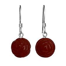GENUINE CARVED ROSE CARNELIAN BEAD / BALL 925 STERLING SILVER DROP EARRINGS