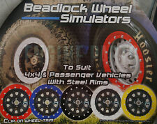 "BEADLOCK BEAD LOCK SIMULATOR KIT SUITS 15"" RIMS 4WD & PASSENGER SET OF 4 RED"