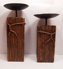 Candle Holders WOOD LOOK With Barbed Wire Tray Cup Rustic Country Unique 2 Piece