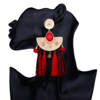 """5"""" Inch Red & Black Golden Etruscan Style Tassel Runway Earrings!"""