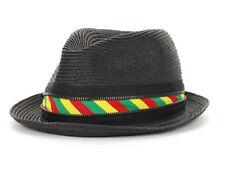 PL Straw Fedora Zipper Bucket Dress Fashion Black Hat Cap Lid Rasta Ribbon S/M