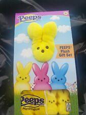 Peeps Plush Gift Set with 4 count marshmallow bunnies-yellow  rare