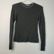 Vince  Gray Women's Size L Striped Pullover Cashmere Sweater $265