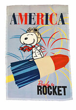 "PEANUTS SNOOPY PATRIOTIC AMERICA READY TO ROCKET FLAG~SIZE 12"" x 18""~NEW"