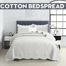 White Bedspread Quilted Bed Throw Embroidered Decorative Quilt With Pillow Shams