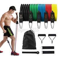 11pcs Resistance Band Set Yoga Pilates Tube Workout Bands Fitness Heavy Duty US