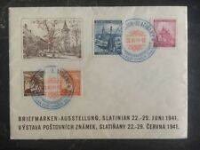 1941 Slatinian Bohemia Moravia Stamps Exhibition Cover June 22-29