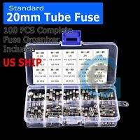 5x20mm Car Boat Quick Blow Glass Tube Fuse Assorted Kit Fast-blow Glass Fuses