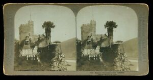 Rheinstein Castle Germany Stereoview Photo C. H. Graves Art Nouveau Platino 1900