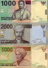 INDONESIA Asia Set of 3 pcs all UNC 1000 2000 5000 Rupiah 2008/2013