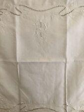 Antique French PILLOW SHAM linen FIL RICHELIEU embroidery IC mono c1900