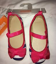 NWT Gymboree Best in Show blue & red stripe girl's shoes Sz 5