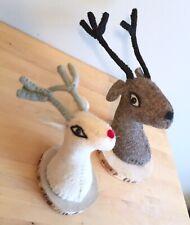 Set 2 Handmade Felted Wool Reindeer Mounted Heads Rudolph Stag Deer Christmas