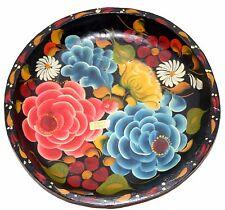 """Gorgeous Hand Painted Papier Mache Plate platter 11"""" Handmade"""