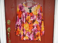 Jones New York Collection Ladies Top size 12 100% Silk Floral Multi 3/4 sleeve