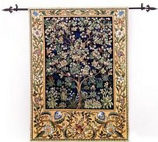 Tree of Life Loom Woven Tapestry William Morris 88 x 68 cm Dark Blue