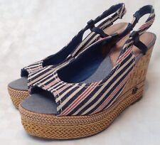 New Wrangler Striped Denim Wedges Sandals Shoes UK 4 RRP £64