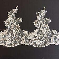 1m Ivory Floral Sequin Corded Tutu Plate Trim  Dance Stage Costume Ballet Bridal