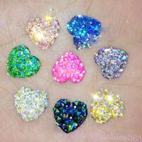 Lots 50Pcs AB Colors Resin Crystal Hearts  For Phone DIY Craft Scrapbook Making